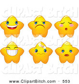 Clip Vector Cartoon Art of a Digital Collage of Cute Yellow Star Characters with Different Facial Expressions by Pushkin