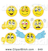 Clip Vector Cartoon Art of a Digital Collage of Yellow Emoticons on White by Visekart