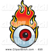 Clip Vector Cartoon Art of a Flaming Red Eyeball on White by Cory Thoman