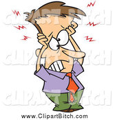Clip Vector Cartoon Art of a Frazzled Brunette White Businessman Holding His Head by Toonaday