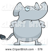 Clip Vector Cartoon Art of a Frowning Angry Elephant by Cory Thoman