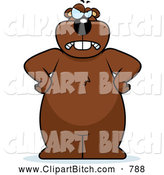 Clip Vector Cartoon Art of a Frowning Mad Beaver Standing Upright with His Hands on His Hips by Cory Thoman