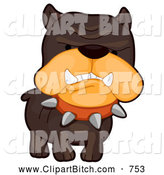 Clip Vector Cartoon Art of a Frowning Mad Brown Bulldog by BNP Design Studio