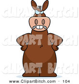 Clip Vector Cartoon Art of a Frowning Mad Donkey Standing with His Hands on His Hips by Cory Thoman