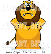 Clip Vector Cartoon Art of a Frowning Mad Lion Standing with His Hands on His Hips on White by Cory Thoman