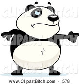 Clip Vector Cartoon Art of a Frowning Mad Panda Pointing by Cory Thoman
