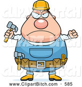Clip Vector Cartoon Art of a Frowning Plump Builder Man with a Fist and Hammer by Cory Thoman