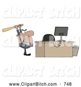 Clip Vector Cartoon Art of a Frustrated Black Businessman Holding a Bat over a Computer by Hit Toon