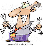 Clip Vector Cartoon Art of a Frustrated Businessman Crumpling Paper by Toonaday