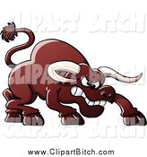 Clip Vector Cartoon Art of a Furious Bull by Zooco