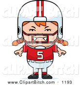 Clip Vector Cartoon Art of a Furious Red Haired Football Player Girl by Cory Thoman