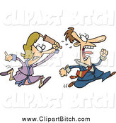 Clip Vector Cartoon Art of a Furious Woman Chasing Her Husband with a Rolling Pin by Toonaday