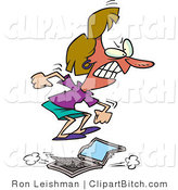 Clip Vector Cartoon Art of a Furious Woman Jumping on a Laptop Computer by Toonaday
