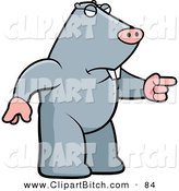 Clip Vector Cartoon Art of a Gray Angry Mole Pointing by Cory Thoman