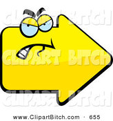 Clip Vector Cartoon Art of a Grouchy Yellow Arrow Character Pointing Right by Cory Thoman