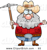 Clip Vector Cartoon Art of a Grumpy and Angry Prospector Holding a Pickaxe by Cory Thoman