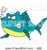 Clip Vector Cartoon Art of a Grumpy Cartoon Mad Fish by Toonaday