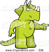 Clip Vector Cartoon Art of a Grumpy Green Mad Triceratops Angrily Pointing by Cory Thoman