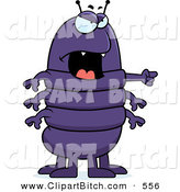 Clip Vector Cartoon Art of a Grumpy Mad Chubby Purple Centipede Angrily Pointing to the Right by Cory Thoman