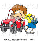 Clip Vector Cartoon Art of a Happy Cartoon Woman Kicking a Tire on a Ca by Toonaday