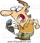 Clip Vector Cartoon Art of a Irate White Man Screaming into the Phone by Toonaday