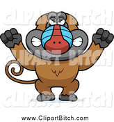 Clip Vector Cartoon Art of a Mad Baboon Monkey Holding up Fists by Cory Thoman