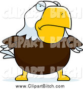 Clip Vector Cartoon Art of a Mad Bald Eagle with His Hands on His Hips by Cory Thoman