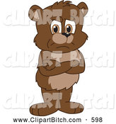 Clip Vector Cartoon Art of a Mad Bear Cub School Mascot Standing Grumpily with His Arms Crossed by Toons4Biz