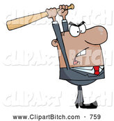 Clip Vector Cartoon Art of a Mad Black Businessman Holding a Bat over His Head by Hit Toon
