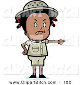 Clip Vector Cartoon Art of a Mad Black Safari Girl Pointing to the Right by Cory Thoman