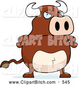 Clip Vector Cartoon Art of a Mad Brown Bull with His Hands on His Hips by Cory Thoman