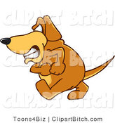 Clip Vector Cartoon Art of a Mad Brown Dog Mascot Cartoon Character with an Angry Grumpy Expression by Toons4Biz