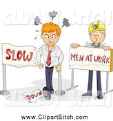 Clip Vector Cartoon Art of a Mad Businessman Breaking a Slow down Construction Sign by BNP Design Studio