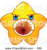 Clip Vector Cartoon Art of a Mad but Cute Yellow Star Character Screaming by Pushkin