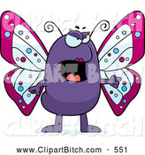 Clip Vector Cartoon Art of a Mad Butterfly Angrily Pointing to the Right by Cory Thoman
