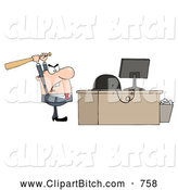 Clip Vector Cartoon Art of a Mad Caucasian Businessman Holding a Bat over a Computer by Hit Toon