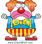 Clip Vector Cartoon Art of a Mad Chubby Circus Clown by Cory Thoman