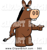 Clip Vector Cartoon Art of a Mad Donkey Angrily Pointing off Screen by Cory Thoman