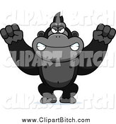 Clip Vector Cartoon Art of a Mad Gorilla Monkey Waving His Fists by Cory Thoman