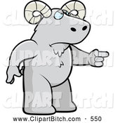 Clip Vector Cartoon Art of a Mad Gray Ram Angrily Pointing by Cory Thoman