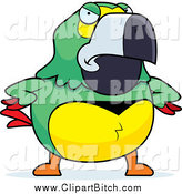 Clip Vector Cartoon Art of a Mad Green Parrot with Wings on His Hips by Cory Thoman