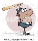 Clip Vector Cartoon Art of a Mad Hispanic Businessman Holding a Bat over His Head by Hit Toon