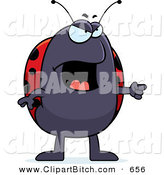 Clip Vector Cartoon Art of a Mad Ladybug Pointing to the Right by Cory Thoman
