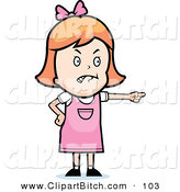 Clip Vector Cartoon Art of a Mad Little Girl Pointing to the Right by Cory Thoman