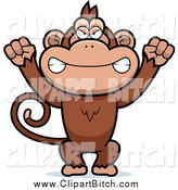 Clip Vector Cartoon Art of a Mad Monkey Waving His Fists by Cory Thoman