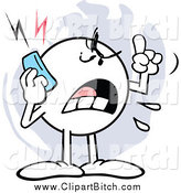 Clip Vector Cartoon Art of a Mad Moodie Character Screaming on a Cell Phone by Johnny Sajem