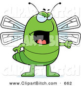 Clip Vector Cartoon Art of a Mad or Angry Dragonfly Pointing to the Right by Cory Thoman