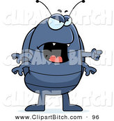 Clip Vector Cartoon Art of a Mad Pill Bug Yelling and Pointing to the Right by Cory Thoman
