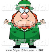 Clip Vector Cartoon Art of a Mad Plump Leprechaun Waving His Fists in Anger by Cory Thoman