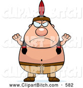 Clip Vector Cartoon Art of a Mad Plump Native American Indian Man by Cory Thoman
